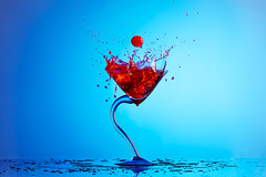 Splash (chriscrowder_4) Tags: blue red glass composite studio cherry drink flash cocktail alcohol splash splashes