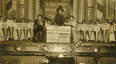 Emmeline Pankhurst speaking at a Women's Social & Political Union (WSPU) meeting, 1912.