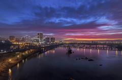 First Light (Joey Wharton) Tags: city morning bridge sky water clouds sunrise river landscape outdoors virginia cityscape richmond va rva