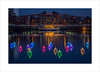 Voyage III (andyrousephotography) Tags: lightwaves 2016 art voyage 198 origami boats rows chaos dock9 float installation lights neon rainbow colours illuminations decorations salfordquays detroit bridge andyrouse canon eos 5d mkiii