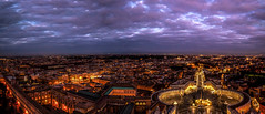 Panoramic St.peter's Basilica Square (Panos Argiriou) Tags: 5dmarkii lights city citylights cloud clouds calm sky panorama rome view travel vatican picoftheday square sunset canon cloudy