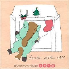 Esperando a Santa (SentimentalMint) Tags: cotidianidad unicornio verde menta dibujo ilustracion cute navidad santa regalos chimenea
