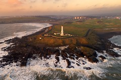 Rough seas at Girdle Ness (iancowe) Tags: girdle ness lighthouse girdleness torry nigg bay aberdeen scotland scottish greyhope windy storm swell headland nlb northernlighthouseboard stevenson drone dji phantom 4 pro north aerial sunrise dawn morning