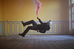 lévitation (Laurent Delfraissy Photographie) Tags: laurentdelfraissy lévitation yellow mystic insolite imagination imagine interieur france friches fumigène mask brutalmask horreur canon canon5diii 5diii hotel abandoned photo photographie photography red rouge clown clownmask decay fantastic