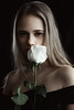 White Rose (ivankopchenov) Tags: girl portrait cute canon beautiful natural model mood people face soft light eos young hair warm sensual gentle cinematic depthoffield eyes indoor black dark naturallight rose white whiterose