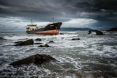 Ghost ship (Đà Nẵng - Việt Nam) (Jason WastePhotography) Tags: vietnam danang asia travel sea ocean ship ghost rocks wave cloud landscape art fear storm