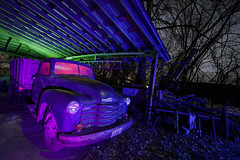 Farm Truck Rafters (Notley Hawkins) Tags: rural missouri notley notleyhawkins 10thavenue httpwwwnotleyhawkinscom missouriphotography notleyhawkinsphotography lightpainting bluelight greenlight blue green night nocturne 光绘 光繪 lichtmalerei pinturadeluz ライトペインティング प्रकाशपेंटिंग ציוראור اللوحةالضوء abandoned longexposure ruralphotography chartitoncountymissouri red redlight rgb outdoor 2017 riverbottoms missouririverbottoms truck farmtruck chevrolet march rafters roof ceiling