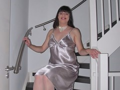 Smile (Paula Satijn) Tags: sexy hot girl gurl tgirl tranny transvestite satin silk nightdress nightie chemise silver stairs staircase shiny soft lady woman dress gown