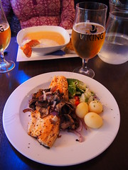 Icelandic cuisine on one of the two restaurants in Saudakrokur!