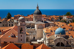 Aerial View of Luza Square, Saint Blaise Church and Assumption Cathedral from the City Walls, Dubrovnik, Croatia (ansharphoto) Tags: old city travel blue roof red sea summer vacation sky urban house building tower history tourism home church wall skyline architecture tile square landscape town ancient europe mediterranean cityscape view cathedral culture croatia landmark medieval belfry clay cupola dome historical blaise overlook iconic dubrovnik assumption adriatic balkan dalmatia luza vlaha