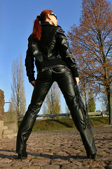 Cora 14 (The Booted Cat) Tags: red sexy girl leather hair model pants whip tight mistress dominatrix
