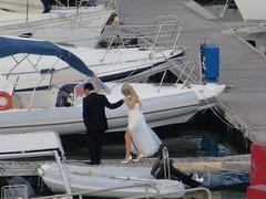 Heen (Merodema) Tags: boats groom bride shoes highheels married dress legs harbour boten blonde jurk steiger bruidspaar hakken bruid bruidegom sialing plankier