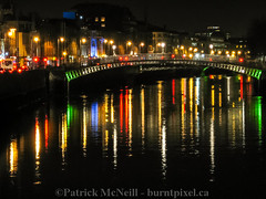 Ireland Set One - 4 (burntpixel.ca) Tags: street city uk trip travel bridge blue ireland red summer urban dublin orange white green art water beautiful yellow horizontal night canon buildings river spectacular island lights evening photo colorful europe cityscape fine patrick liffey adventure photograph journey colourful wander overseas mcneill burntpixel a540 wrench777