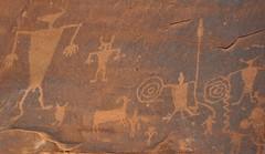Archaic & Fremont Indian petroglyphs (~6000 B.C. to ~1300 A.D.) (Potash Petroglyphs, along the Colorado River, eastern Utah, USA) 9 (James St. John) Tags: cliff face animals river utah sandstone colorado desert indian fremont cliffs moab indians navajo petroglyph jurassic petroglyphs varnish archaic anthropomorphs