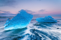 Blue Ice (Joe Azure) Tags: iceland azure jazure sunrise sunset sandy landscape beach seascape blacksand ocean iceberg ice icebergs