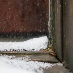 Snow in a (dirty) window (Bloui) Tags: 2016 eos7d alley december plateaumonroyal ruelles winter corner macromondays macro snow window textures
