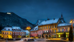 Brasov by night (George Nutulescu) Tags: brasov building buildings blue blackchurch architectural architecture city church color cityscape colors cityart d3300 downtown evening history historic house home historical kronstad longexposure light life lamp medieval nikon night nightshot old outstandingromanianphotographers older place romania sky town winter snow