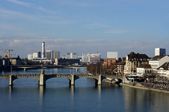 Basel - Basilea - Basle (Rosmarie Voegtli) Tags: rhein rhy basel mittleribrugg river fluss odc ourdailychallenge weatherpermitting wasser water bridge brücke chemie industrial