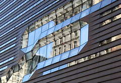 (More or less) parallel lines:  The New School University Center, 5th Avenue at 14th Street, New York (Spencer Means) Tags: newschool university center greenwichvillage newyork nyc ny city neighborhood modern glass reflection fifth 5th avenue ave 14th street fourteenth corner window planes