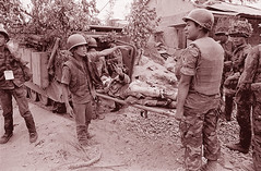 QUANG TRI 1972 - Soldier on Stretcher Gives Peace Sign (manhhai) Tags: asia group people southvietnam southeastasia vietnam vietnamwar19591975