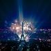feu d'artifice du 14 juillet 2013 sur le sites de la Tour Eiffel et du Trocadéro à Paris vu de la