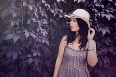My State Of Mind's All Purple (dreaming_my_reality) Tags: light portrait white girl hat leaves female purple natural young dreamy