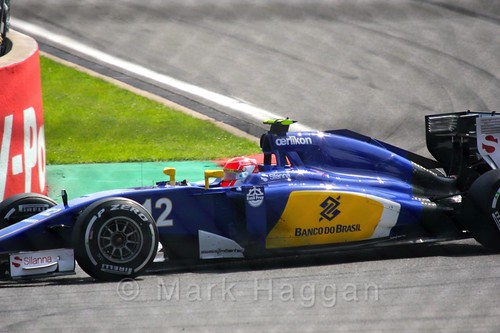 Felipe Nasr in his Sauber in the 2015 Belgium Grand Prix