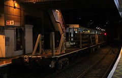 JZA  93758 Bishop's Stortford Station , Hertfordshire . Saturday night 26th-September-2015 . (AndrewHA's) Tags: new station night yard train dark wagon long rail railway east rails service hertfordshire module tilbury welded clamping bishopsstortford pway whitemoor jza 93758 6t64