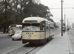 STE 2112 (PCC) a GUERRERO ZOCALO car on Avenida Hidalgo next to Alemrdia Park in  Mexico City, D.F, Mexico on September 10, 1966 (railfan 44) Tags: trolley transit masstransit streetcar pcc