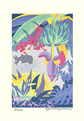 Banana, hibiscus and unknown flowers (Japanese Flower and Bird Art) Tags: flower art japan modern print japanese banana hibiscus ito linocut malvaceae musa musaceae takayoshi readercollection