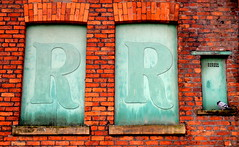 Double R (Tony Worrall Foto) Tags: county city uk windows red england urban color bird abandoned wall manchester stream closed colours tour open place northwest grim decay pigeon name bricks country letters north rr visit location gone blocked forgotten blank area perch block northern update named attraction slab redbrick manc gmr bricked welovethenorth 2015tonyworrall