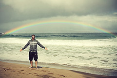 Steve-in-a-rainbow (The Creaking Door) Tags: ocean sea hawaii rainbow thebigisland holiday2012 stephengiguere