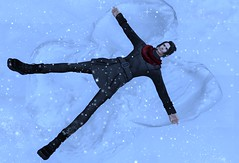 Snow angel time.... (drayton.miles) Tags: winter snow cold magic sl edward angels secondlife edgar second miles mm kelsey flakes hogwarts mischief managed hufflepuff