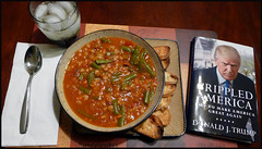 Lunch with Trump (Blackhorse17) Tags: lunch soup book donaldtrump beefbarleysoup