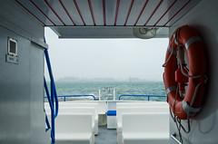 Bad weather conditions... (sophyleroy) Tags: sea mer france fog boat pluie roscoff bretagne britanny bateau brouillard boue bouedesauvetage ledebatz batzisland