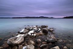 Rattlesnake Island (MikeWeinhold) Tags: lakewinnipesaukee lake newhampshire dusk longexposure rocks sky water cpl polarizer newengland