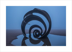 Mary's Shell I (andyrousephotography) Tags: cleveleys marysshell sculpture stephenbroadbent steel shell beach tide out early morning misty damp drizzle blue andyrouse canon eos 5d mkiii