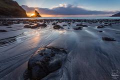 Talisker Bay Sunset Stack (tristantinn) Tags: skye scotland bay talisker sea coast seascape beach explore landscape nature marbled sand texture stack rock cliff