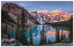 "The beauty of Moraine Lake at Sunrise! (Joalhi ""Around the World"") Tags: moraine lake alpenglow sunrise fire water mountain banff alberta canada valleyofthetenpeaks"
