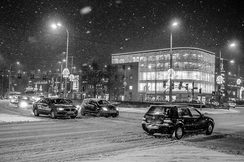 Snow, street Stettin-Szczecin, Poland 2017.