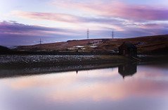 A Piethorne Sunset (Missy Jussy) Tags: sunset colourful piethorne reservoir water reflections wall pumphouse pylons horizon sky clouds hills snow january 2017 dusk rochdale landscape lancashire england northwest canon canon50mm 50mm canon5dmarkll
