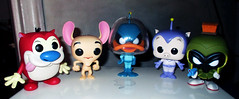 Stimpy and Ren and Daffy Duck Dodgers 1145 (Brechtbug) Tags: stimpy ren daffy duck dodgers porky pig space cadet marvin martian pop figure action figures alien villains film movie blue creature monster universal insect bugs scifi science fiction galaxy universe mars shackles handcuffs 2017 toys toy red weapon funko animation cat dog