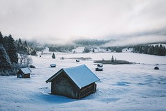 Winter cabins with a view. (Bokehm0n) Tags: landscape nature vsco explore flickr earth travel folk 500px bavaria geroldsee sunrise vscofilm snow winter cold ice frozen frost wood mountain hut no person bungalow tree frosty scenic house weather resort outdoors