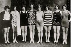 Ladies in Swimsuits (kevin63) Tags: lightner photo blackandwhite vintage antique old twenties 20sflapper majong game pool swimming bathingsuits women group stripes prints solds bobbedhair