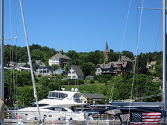 Bayfield, Wisconsin (Prairie Star) Tags: bayfield wisconsin town downtown unitedstates usa midwest smalltown boats boat dock apostleislands sunny lakesuperior landscape usflag flag church churchsteeple hilly scenicmidwest