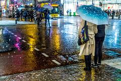 Het meisje met de parel (Bart Weerdenburg) Tags: winter snow utrecht netherlands nederland sneeuw colour color night nightphotography after dark street photography vermeer meisje met de parel umbrella