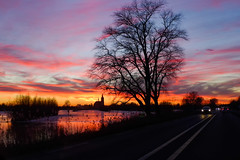 Sunset sky @ Vinkeveen (PaulHoo) Tags: sky winter clouds fire 2017 lumix silhouette tree traffic road beautiful reflection vinkeveen vinkeveense plassen holland netherlands sun sunset church horizon landscape nature evening
