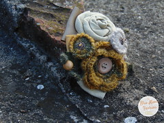 Blue Moon Unique Store (bluemoonuniquefashion) Tags: yellow gray golden ivory crochet crocheted flower flowers brooch brooches roses handmade pin bohemian ribbon retro button beads wooden wool