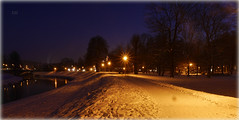Abend Stimmung - Evening mood (Karabelso) Tags: snow light river water trees schnee winter fluss wasser zwickau sachsen bäume damm panasonic lumix gx7