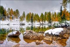 in between days (Luciano Silei - sky7) Tags: bordaglia lake snow autumn autunno alpi alpicarniche alps canon7d sigma1020mm lucianosilei landscape water